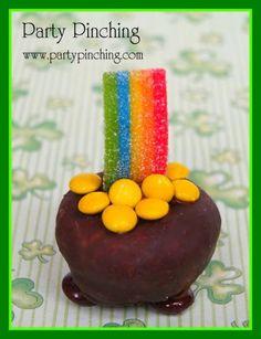 pot of gold, holiday ideas, food, dessert ideas, gold donut, rainbow, home parties, treat, kid