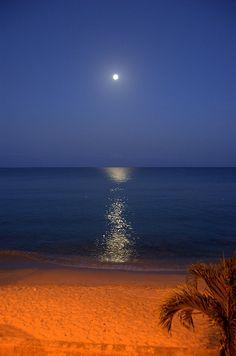 Moonset in St. Croix, US Virgin Islands, Caribbean