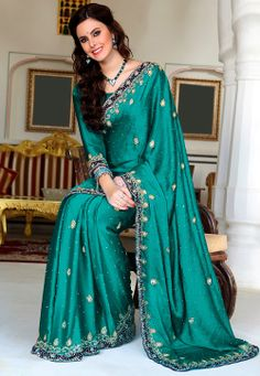 Teal Green Satin Faux Chiffon Saree with Blouse @ $220.64