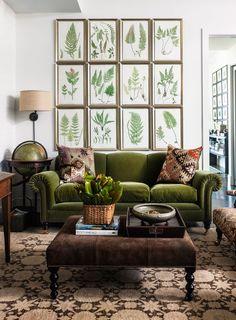 framed botanicals + velvet sofa