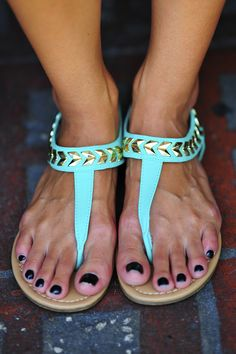 Follow The Arrows Sandals: Aqua