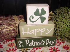 Happy St. Patrick's Day Wood Sign Blocks Primitive Country Rustic Home Decor Gift. $26.95, via Etsy.