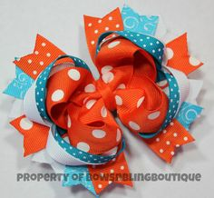 Turquoise and Orange Hair Bow Cute Hairbow Boutique Hairbows Summer Bow Funky hair bow Orange and blue bow on Etsy, $11.99