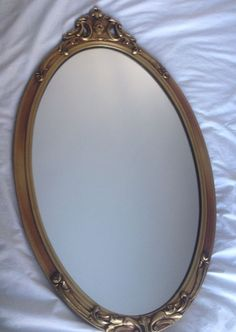 Vintage Antique Home Wall Decor Oval Gold Gilt & Gesso Wood Mirror