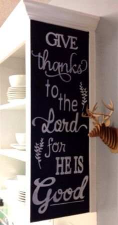 holiday, chalkboard walls, thanksgiv chalkboard, chalkboard quotes, painted cabinets