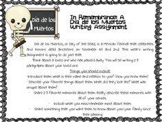 Dia de los Muertos Writing Activity!  Fancy Free in Fourth