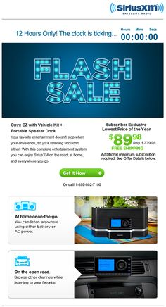 In this email, SiriusXM used a live countdown timer to show how much time was left until the end of a 12-hour flash sale. #emailmarketing #countdowntimer #retail #realtime
