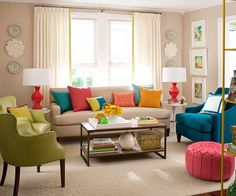 mostly neutral with pops of lime green, teal, orange, and bright pink