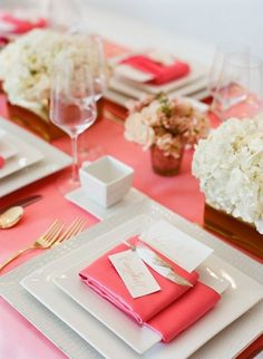 bridal shower coral decor, table settings, galleries, pink, photography, design, event styling, parti, bridal showers