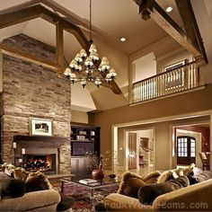 dream living rooms | dream living room! | Beautiful Family Rooms open floor plans, living rooms, exposed beams, dream hous, family rooms, high ceilings, live room, stone fireplaces, wood beams