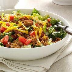 Turkey Taco Salad - I would still put some low fat or fat free sour cream on the side to make it an option