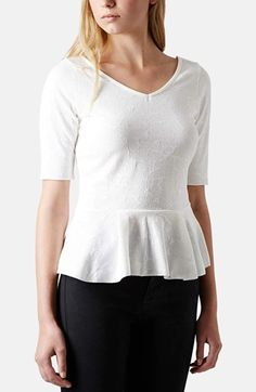 Topshop Jacquard Peplum Top available at #Nordstrom