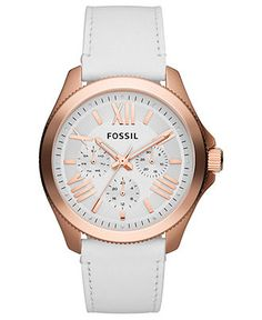 Fossil Watch, Women's Cecile White Leather Strap 40mm
