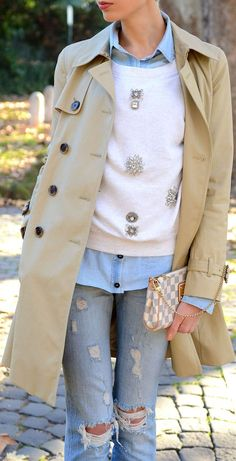 #Trench, #Jeweled #Sweater & #Ripped #Jeans