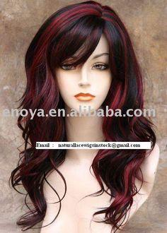 dark hair with highlights   European Hair 1b Burgundy Highlight Wig, EUROPEAN HAIR #1B/Burgundy ...