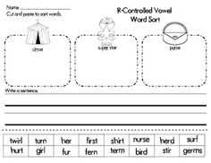 r controlled vowel sort- FREE
