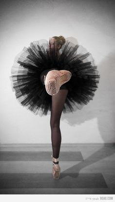 Actual photographer unknown (source links to Flickr but cannot find the image). #photography #ballet #ballerina #dancers #dancing #pointe #shoes #pink #black #tutus #legs #balance #grey