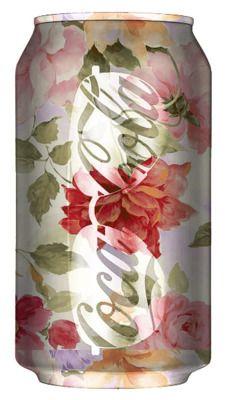 coca cola, drink, diets, cocacola, flowers, coke can, design, floral graphics, diet coke