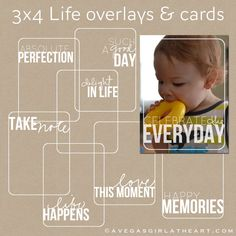 3x4 Life Photo Overlays & Printable Journaling Cards for Project Life