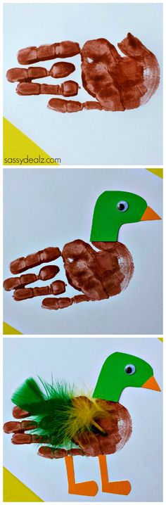 Duck Handprint Craft for Kids #Mallard #DIY #Kids art project | http://www.sassydealz.com/2014/02/duck-handprint-craft-kids-2.html
