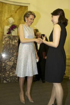 (L) Queen Mathilde of Belgium congratulates South-Korean winner Sumi Hwang after the fourth and last session of the finals of the Queen Elisabeth Singing Competition 2014 at the Brussels' Flagey hall, 31.05.2014, in Brussels.