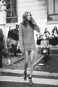 cozy knit & legs for days #style #fashion #streetstyle
