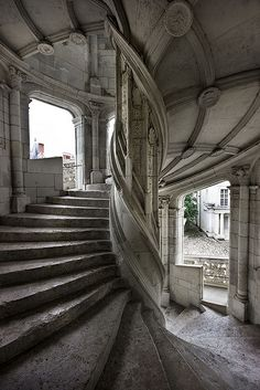 Spiral staircase of the Château de Blois / Loire Valley, France.