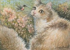 pink flower, hummingbird, cat scrapbook, cat artwork, lynn bonnett, cat artcont
