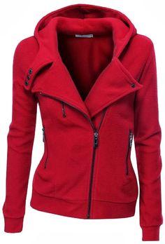 Red warm fleece zip-up hoodie