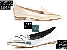 Hi/Lo: Metallic Pointed Toe Loafers