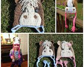 Crochet/ Knit Horse Beanie with Button Eyes, Cream Mane,Optional Bow, Tassels, and Trim. Choose your size and color. by KraftyShack on Etsy, $26.99 USD