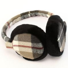 Winter Ski Fuzzy Earmuff Ear Warmer Adjustable Tartan Black Plaid