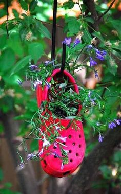 garden planters, outdoor garden, crocs, flower planters, recycling, old shoes, hanging planters, old crocks, hanging gardens