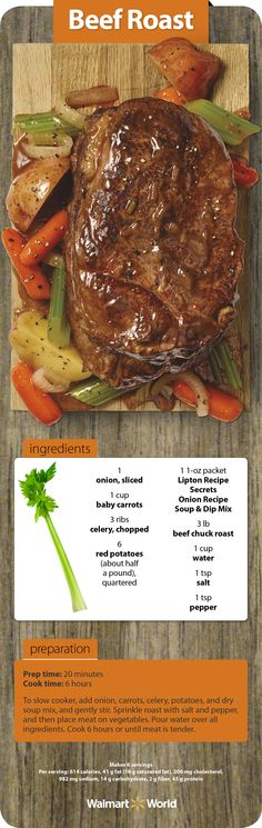 Your slow cooker is a healthy way to tenderize a tough cut of meat, like chuck roast, without adding fat or sodium. Try this classic beef roast recipe from Amber W. at Store 990 in Milton, Fla. #dinner #beef