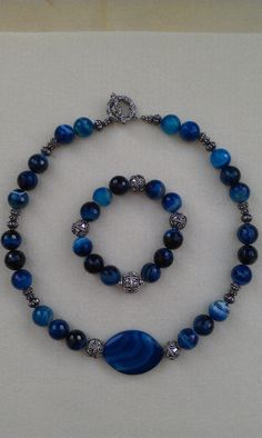 Ocean Blue beaded necklace and bracelet set by LilaRoseJewelry, $110.00 #Jewelry #Womensfashion #Accessories #Necklace #Bracelet #Style #Beaded  #Handmade