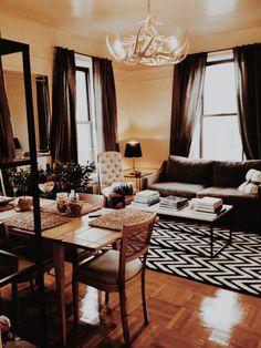 brooklyn crown heights one-bedroom apartment, nyc apartment, ny apt, brooklyn apartment, small space living, design sponge, Taylor Anne, living room,