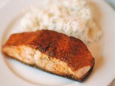 Chili-Rubbed Salmon with Zucchini and Sauteed Corn