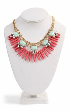 Deb Shops Short Statement #Necklace with Square Stones and Spikes $7.74