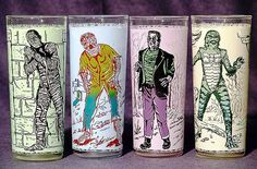 Anchor Hocking Universal Monster Glasses - circa 1963. Given away as promotional gas station items.