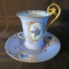 Antique Rosenthal RC Fancy Cup Saucer Violets