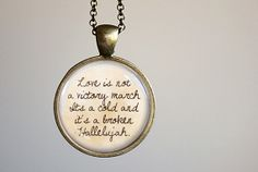 "Leonard Cohen ""Hallelujah"" Inspired Lyrical Quote Pendant Necklace"
