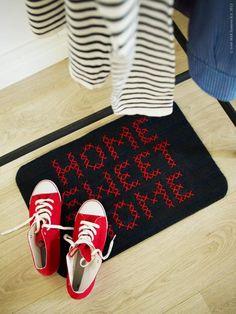 DIY Round-Up: 7 Cross-Stitch Style DIYS craft, crossstitch, doormat, crosses, sweet home, diy, cross stitches, ikea, floor mats