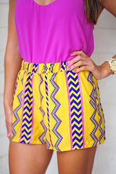 Yellow Aztec Shorts