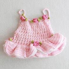 Adorable American Girl Doll crochet dance leotard with roses. From Maggie's Crochet.