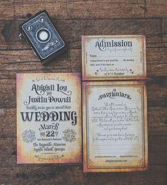 Vintage theatre invitations from Royal Steamline. #weddinginspiration #weddingchicks #stationery http://royalsteamline.com/product/invitations/cotillion/