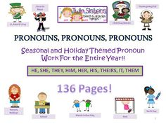 Twin Sisters Speech & Language Therapy: PRONOUNS, PRONOUNS, PRONOUNS! - FOR THE WHOLE ENTIRE YEAR! Please come check out this HUGE packet (136 pages) and print off the free pages too!