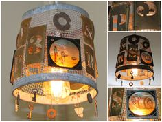 Hanging light #Glass, #Keys, #Metal, #Recycled, #Wire