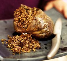 Scottish Haggis!  (also very good over toasted breads or crackers!) Tried this on trip to Scotland - not too bad.