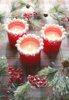 Crochet candle holde