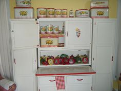 Vintage Red & White Sellers / Hoosier style with side cabinets